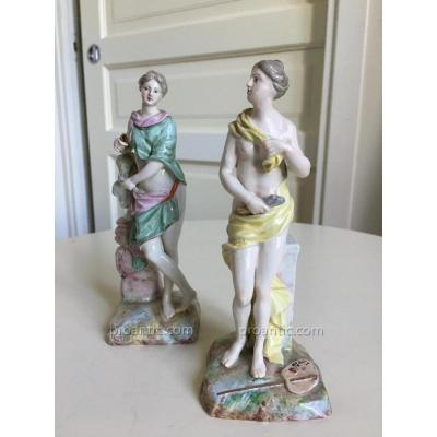 Pair Of Statue In Polychrome Pottery