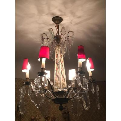 Obelique Central Body Chandelier In Painted Sheet Metal 6 Candles