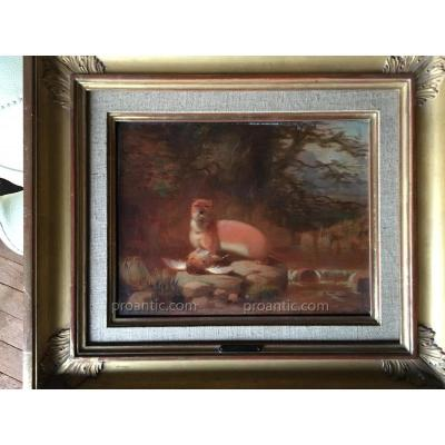The Otter Oil On Wood Nineteenth W. Malbon. English Ec
