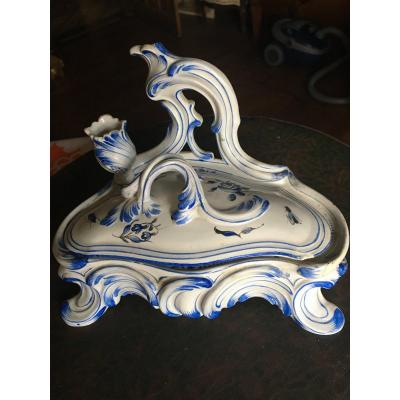 Louis XV Inkwell In Blue And White Luneville Faience 19th