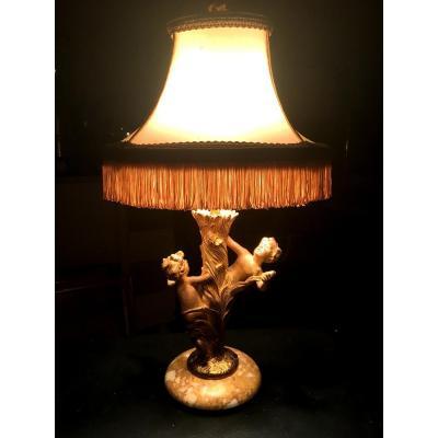 Belle Lampe Dorée Epoque Art Nouveau Anges Dansant Autour d'Un Pied Cornet