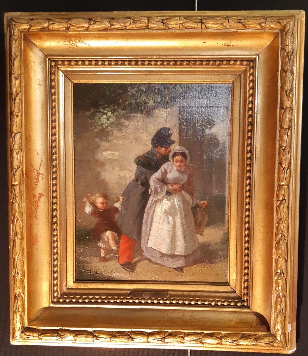 François-louis Lanfant De Metz (1814-1892) - Scène d'un enfant défendant sa mère.
