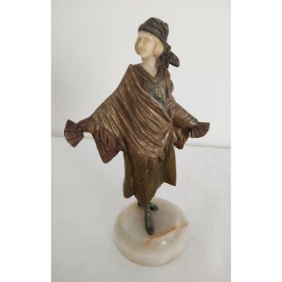 Sculpture De Roger Richard - Jeune Diseuse De Bonne Aventure Bronze Art Déco 1930