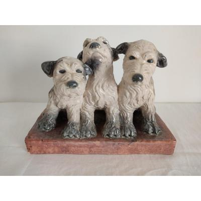 R. David Enamelled Ceramic Sculpture Representing Three Puppies