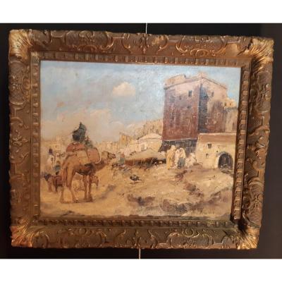 José Navarro Lloréns (1867-1923) - Hsp Arrival Of Camel In Front Of The City