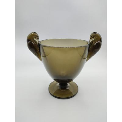 René Lalique - Vase Oiseaux Ornis Fumé