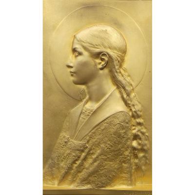 Agathon Leonard - Bas Relief En Bronze Doré Représentant Sainte Cécile