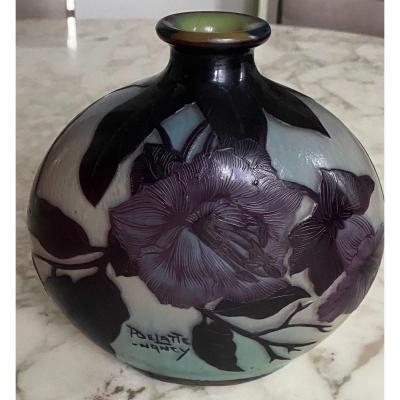 Andre Delatte - Vase Gourde à Décor Floral