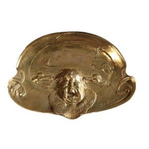 Georges Flamand - Amusant Vide Poche En Bronze Doré A Décor De d'Enfant Crieur