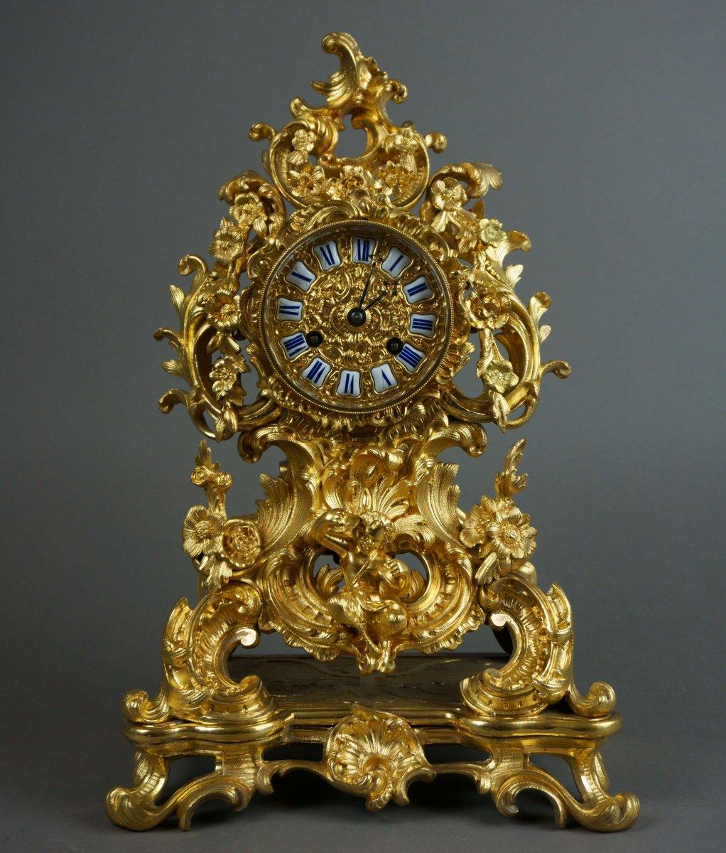 Pendule, Horloge Rocaille En Bronze Doré De Style Louis XV, époque Napoléon III