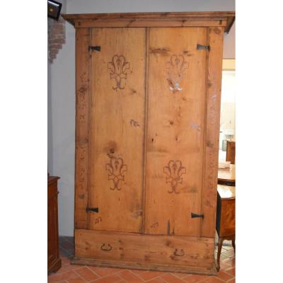 Large Wardrobe Of Sacristy In Natural Wood (pitch-pine)