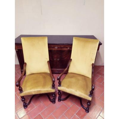 Armchairs Louis XIII Style, Chair, Bergère