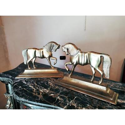 Pair Of Brass Bookends, Brass Horses Sculptures, Nineteenth Century Decoration