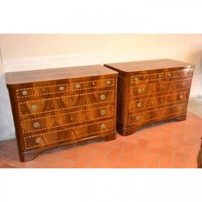 Rare Couple Inlaid Chests, Nineteenth Century