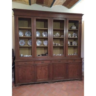 Library, Pharmacy Furniture In Fir Wood, XIX Century, Tuscany