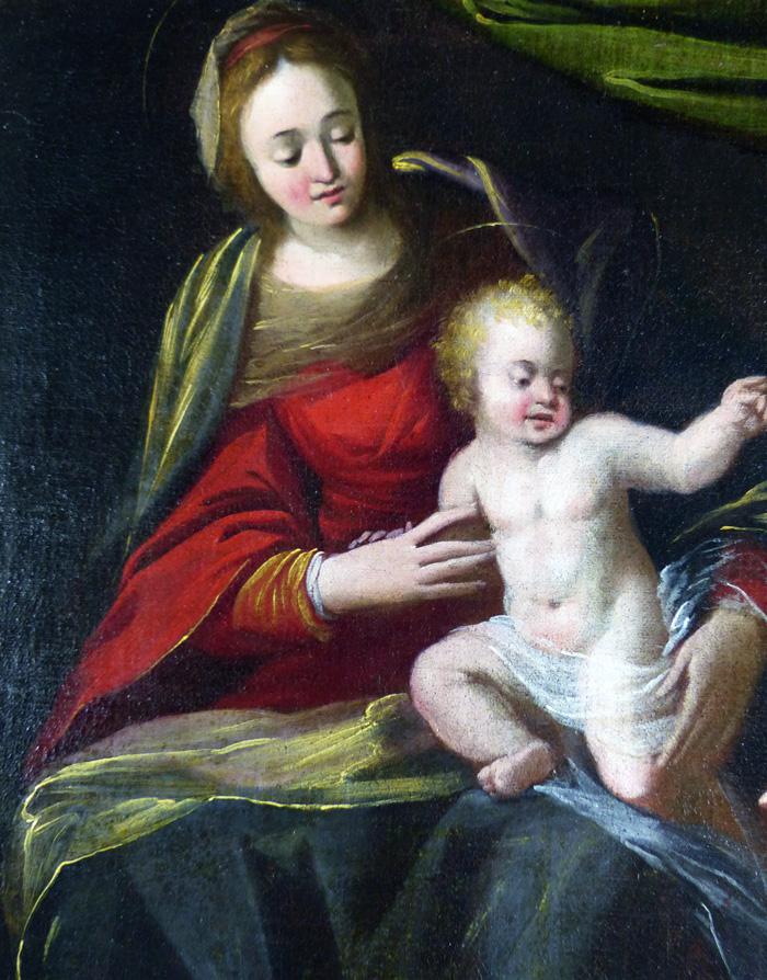 Vierge à l'Enfant et Sainte-lucie,Peinture Siennoise fin 500