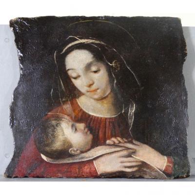 La Vierge Et l'Enfant - Peinture Sur Marbre Du Premier 600