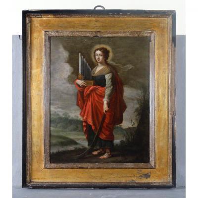 Peinture Sur Cuivre: Sainte Cecile Du '600