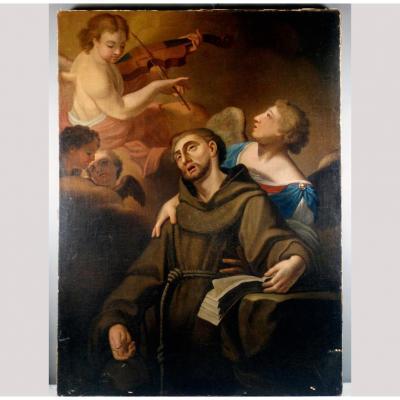 Extase De Saint François, Belle Peinture De '600 à étudier