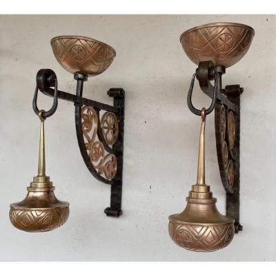 Pair Of Entrance Lights In Iron And Bronze XXth Century