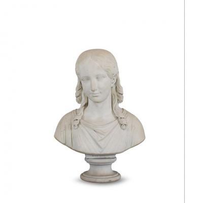 Sculpture Française XVIIIeme Siecle H: 51cm En Marbre Blanc Carrara