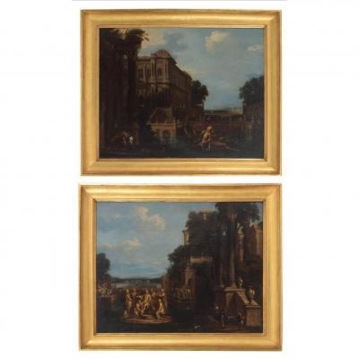 "Moucheron Amsterdam 1677 / 1744 Paire Toiles "" Paysage """