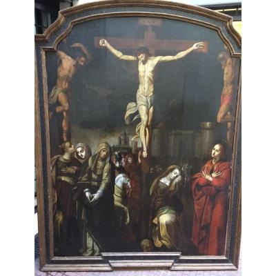 "Ecole Flamand XVII Eme Siecle "" Crucifix "" 140cm X 180cm"