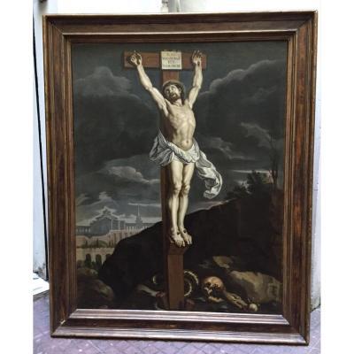 """Huile Sur Toile Ecole Flamand XVII Siècle """" Christ Sur La Croix """" 80cm X 103cm"""