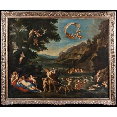 """Francesco Albani """" Adonis Guide Venus Depius Les Cherubins """" 165cm X 135cm"""