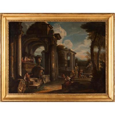 """Giovanni Ghisolfi (1623/1683) """" Capriccio Architectural """" 98cm / 74cm"""