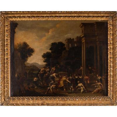 """"""" Le Sacrifice d'Iphigenie """" Ecole Andrea Vaccaro ( 1600 / 1670 ) 105cm X 83cm"""