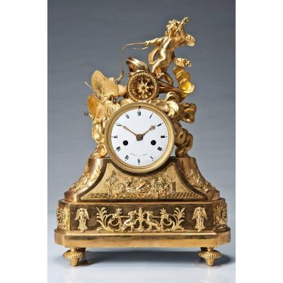 Pendulum Bronze Paris XIXth Century 32cm X 15cm X 46cm