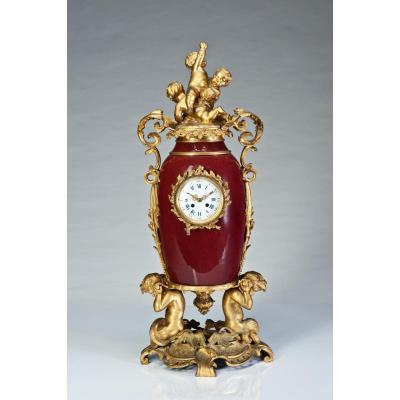 Horloge En Porcelaine Ox-bone XIXeme Siecle France H: 90cm