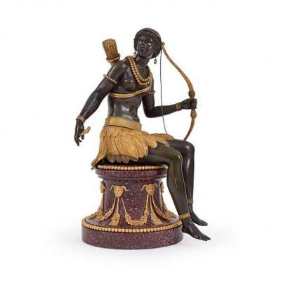 """Sculpture En Bronze """" l'Allegorie De l' Amerique """" XVIIIeme Siecle France H:32cm"""