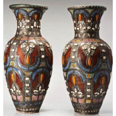 Paire De Vases XIXeme Siecle Turquie H: 95cm