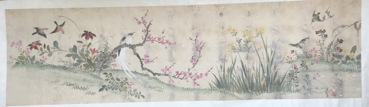 Landscape With Flowers And Birds, Horizontal Roll Painting, Polychrome Ink On Paper. China Ching Period. Asia