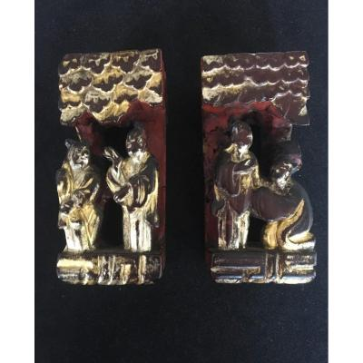 Pair Of Architectural Elements, Carved Wood, Red Lacquer And Leaf Gilding. China, Ching Dynasty. Asia Statue