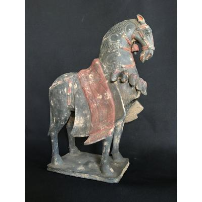 Mingqi Statue Of Horse With Ceremonial Harness. Terracotta. China, Wei Dynasty, Seniority Test Provided. Asia