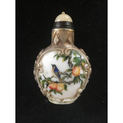 Golden Snuff Bottle With Longevity And Immortality Peaches. China Collection, Polychrome Glass, Gilding. Asia