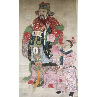 Taoist God Lu XIng And His Assistant, Vertical Roll, Polychrome Painting, Gilding, China. Asia