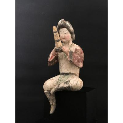 MUSICIENNE TANG. Terre cuite CHINE. Statue MINGQI. Test d'ancienneté fourni. Asie