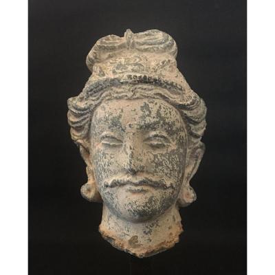 Tête DE BODHISATTVA. Schiste gris, sculpture gréco-bouddhique. Art du GANDHARA. Statue Asie