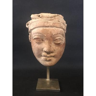Head Of Gandharian Donor, Ancient Terracotta, Greco-buddhist Art Known As Gandhara. Collector's Item. Asia