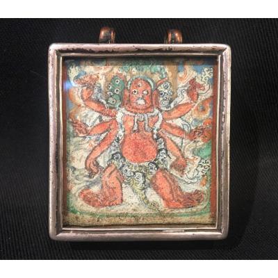 GA'U Reliquaire à Fenêtre Mongolie Peinture Figure Divine Padmasambhava GHAU ou GAO