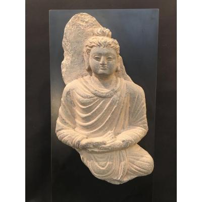 Fragment Bouddha schiste Gandhara Circa II - IIIème siècles. Art Greco Bouddhique Archéologie
