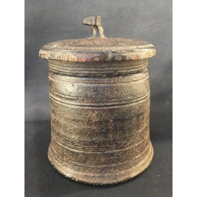 Himalayan Cylindrical Shape Box For Home Use.  Turned Wood
