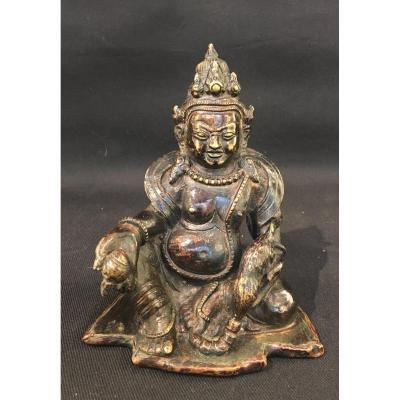 Dieu KUBERA ou JAMBALA en bronze,  dieu de la Richesse tibétain, TIBET, Himalaya.