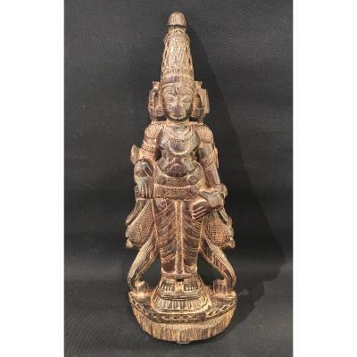 Statue Indienne En Bois Du Dieu Viçnu (vishnou), Inde Du Sud, Hindouisme