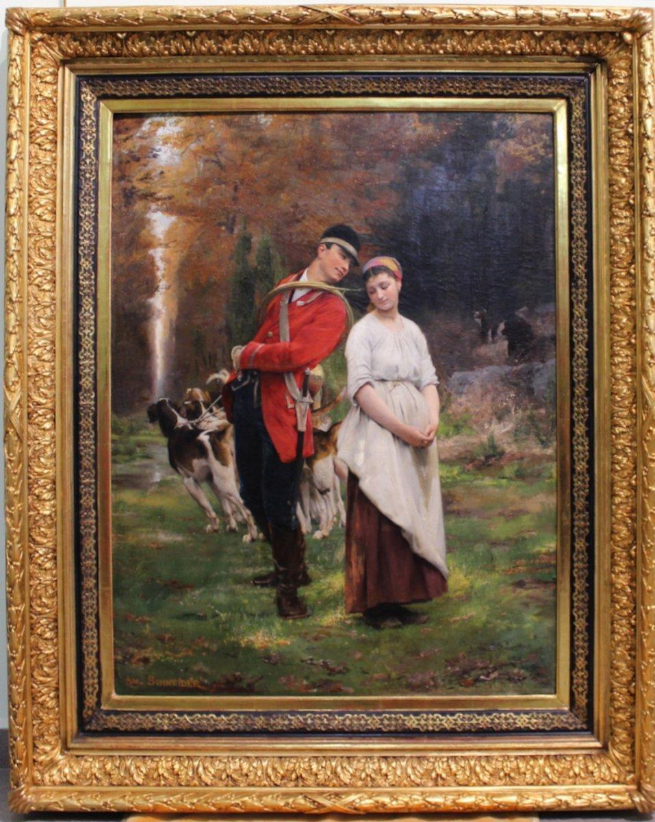 Schneider Louis Amable, 1824-1884 Peinture à L'Huile Française Signée De Chasseur Avec Une Fille Et Des Chiens