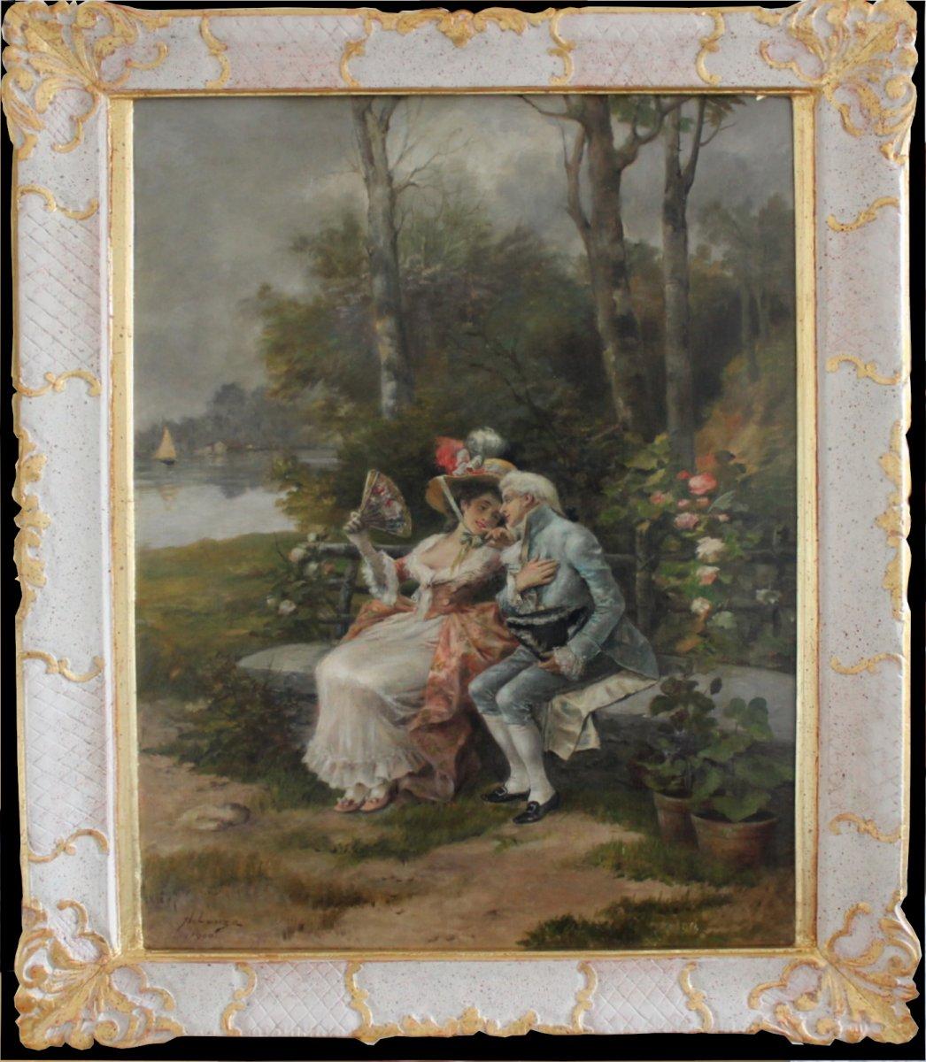 Antonio Lonza (italien, 1846-1918) Une Scène Galante DansLe Parc Le Couple Qui Flirte